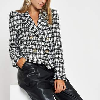 River Island Womens White check boucle double-breasted jacket
