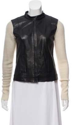 Robert Rodriguez Leather Paneled Wool Cardigan