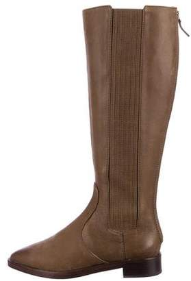 Tory Burch Leather Pointed-Toe Knee-High Boots
