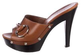 Gucci Leather Horsebit Slide Sandals