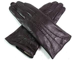 EMPORIUM LEATHER The Leather Emporium Women's Gloves Fur Lined Stripe Detail Slim Fit