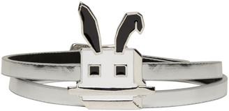 McQ Alexander McQueen Silver Electro Bunny Mini Wrap Bracelet $95 thestylecure.com