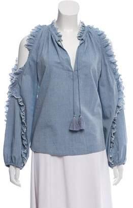 Ulla Johnson Long Sleeve Cold-Shoulder Top