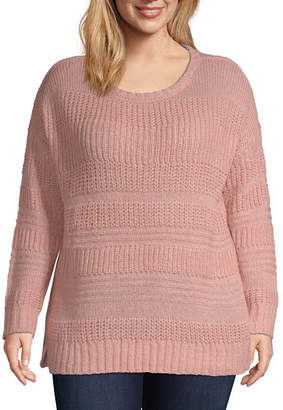 ST. JOHN'S BAY Cozy Textured Stripe Pullover - Plus