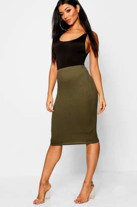 boohoo Jumbo Rib Midi Skirt
