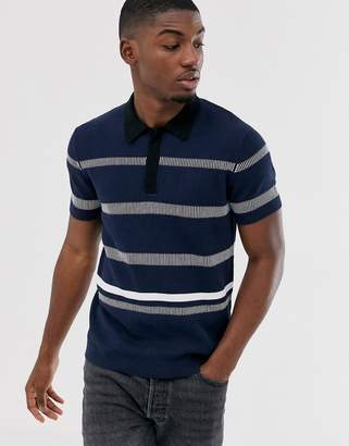 Jack and Jones striped knitted polo in navy
