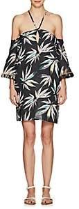 WOMEN'S LEAF-PATTERN LINEN COVER-UP DRESS SIZE M/L