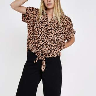 River Island Womens Brown leopard print tie front shirt