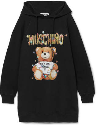 Moschino Teddy Hooded Printed Cotton-jersey Dress - Black