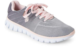 U.S. Polo Assn. Grey & Light Pink Mandy Low-Top Sneakers