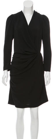 Balenciaga  Balenciaga Draped Plunging Neck Dress