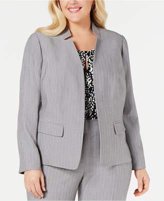 Kasper Plus Size Notched Stand-Collar Blazer