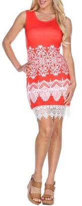 White Mark Women's Printed Crochet Trim Mini Dress