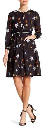 ONEBUYE Star Patterned 3\u002F4 Sleeve Dress