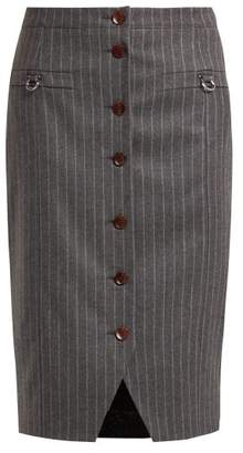 Altuzarra Quill Pinstriped Wool Blend Skirt - Womens - Grey Stripe