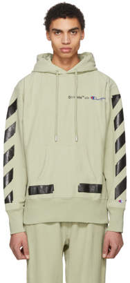 Off-White Off White Beige and Black Champion Edition Logo Hoodie