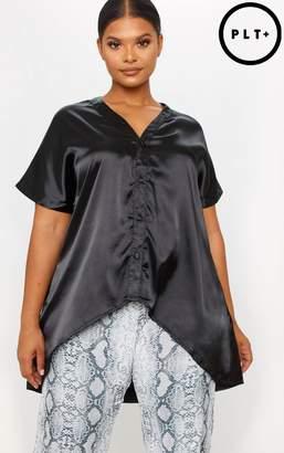 PrettyLittleThing Plus Black Satin Button Front Short Sleeve Shirt