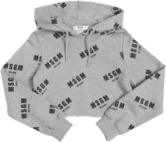 MSGM Logo Cotton Cropped Sweatshirt Hoodie