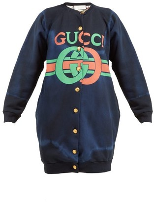 Gucci Logo Print Tie Dyed Cotton Buttoned Sweatshirt - Womens - Navy Multi