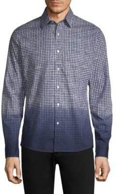 Michael Kors Slim-Fit Dip Dye Gingham-Print Linen Woven Shirt