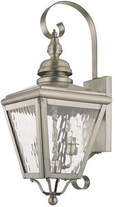 Cambridge Silversmiths Livex Lighting Livex 2-Light Bn Outdoor Wall Lantern