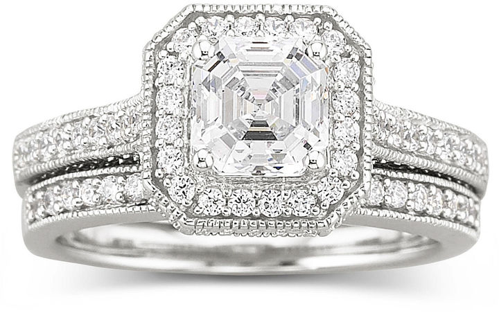 JCPenney FINE JEWELRY DiamonArt Sterling Silver Cubic Zirconia Bridal Ring Set
