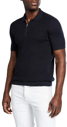 Kiton Men's Short-Sleeve Zip Polo Shirt