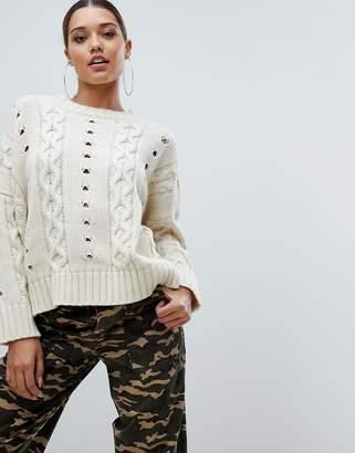 PrettyLittleThing textured jumper in stone