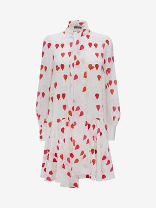 Alexander McQueen Petal Print Oversized Mini Dress