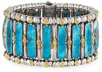 Konstantino Faceted Crystal Quartz Over Chrysocolla Cuff Bracelet