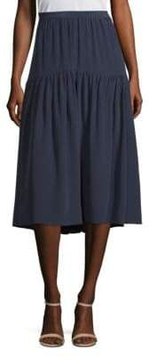 Tory Burch Tracy Silk Ruffled Midi Skirt