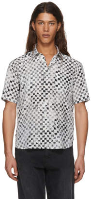 Saint Laurent Black and White Silk Checkerboard Shirt