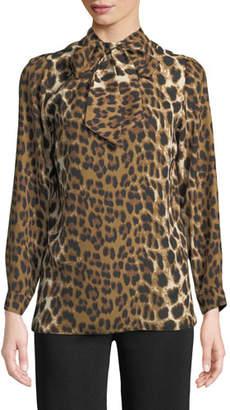 Misook Tie-Neck Leopard-Print Blouse