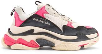 Balenciaga Triple S Low Top Trainers - Womens - Black Pink