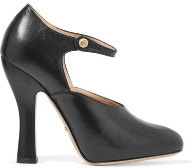 Gucci - Leather Mary Jane Pumps - Black