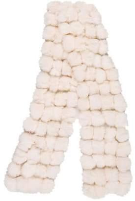 Pom-Pom Rabbit Fur Scarf