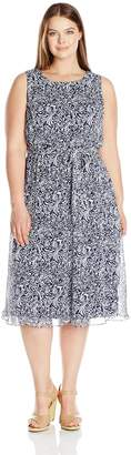 MSK Women's Plus Size Sleeveless Navy White Floral Woven Dress with Belt