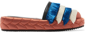 Marco De Vincenzo - Leather-trimmed Fringed Satin Slippers - Copper $790 thestylecure.com