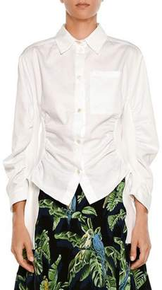 Stella McCartney Button-Front Side-Ruched Cotton Shirting Blouse