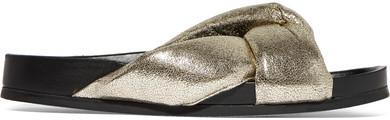 Chloé - Metallic Cracked-leather Slides - Gold