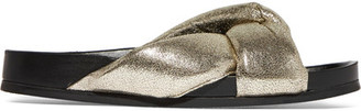 Chloé - Metallic Cracked-leather Slides - Gold $575 thestylecure.com