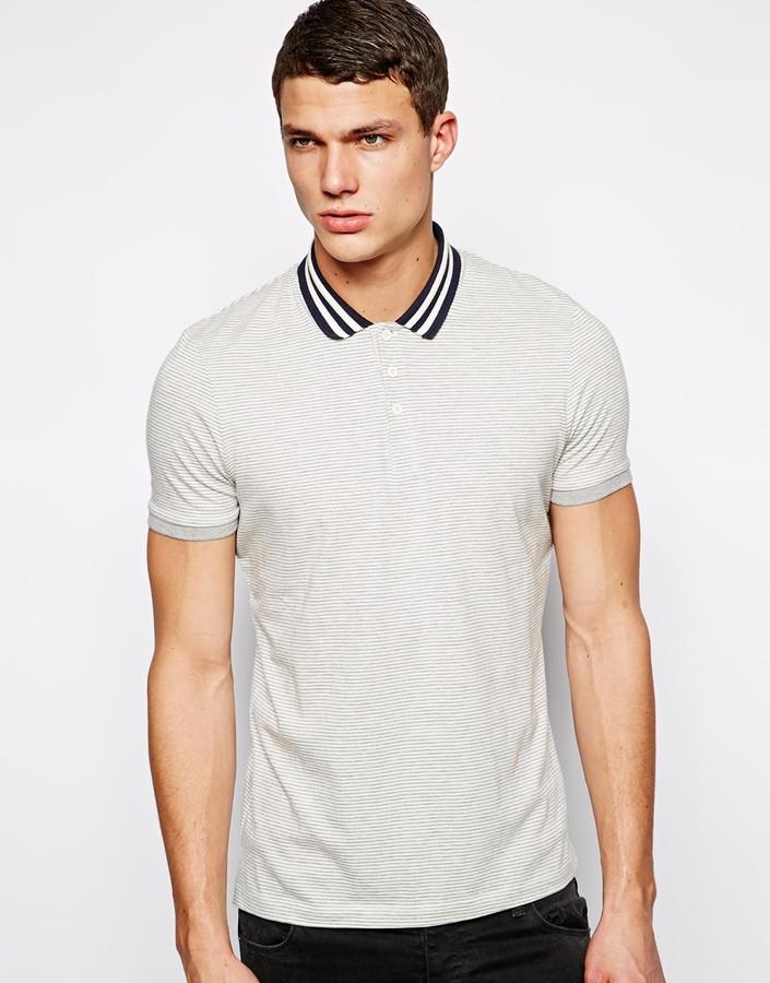 Asos Stripe Polo With Contrast Collar