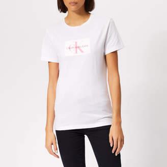 Calvin Klein Jeans Women's Flock Monogram Slim T-Shirt