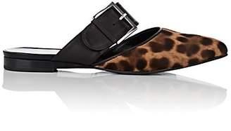 Barneys New York Women's Leopard-Print Calf Hair Buckle Mules - Brown