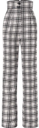 Antonio Berardi Checked Crepe Wide-leg Pants - Gray