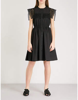 Sandro Embroidered yoke cotton dress