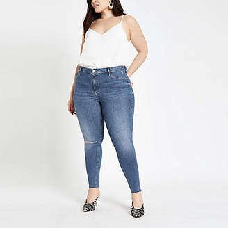 River Island Plus mid blue Molly jeggings