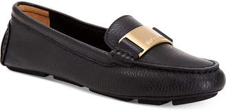 91a950f391e Black Leather Flats Calvin Klein - ShopStyle