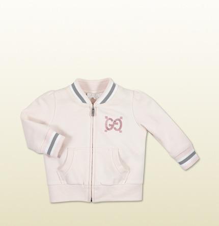 Gucci Light Pink Felt Zip Up Sweatshirt