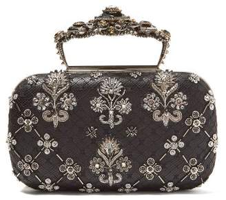 7b0f05ba0848 Alexander McQueen Jewelled Top Handle Leather Clutch Bag - Womens - Silver  Multi